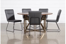 Trina Round 6 Piece Dining Table With Kylie Grey Chairs