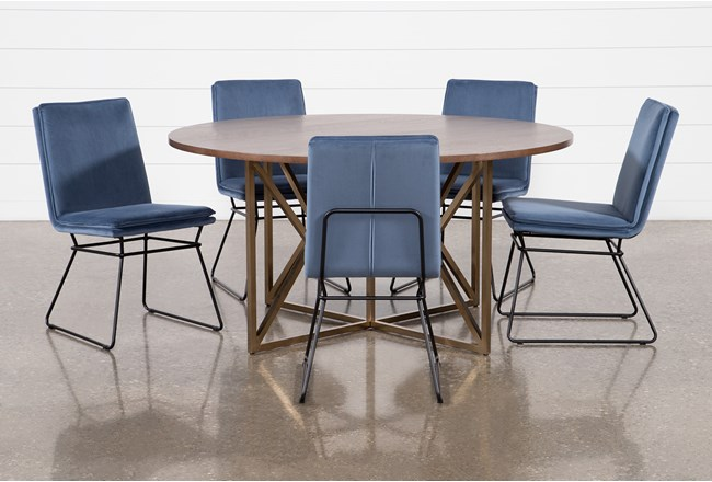 Trina Round 6 Piece Dining Table With York Chairs - 360