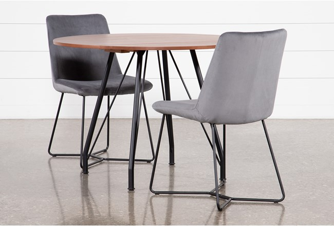 Vine Drop Leaf 3 Piece Dining Table With Sable Grey Chairs - 360