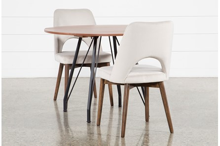 Vine Drop Leaf 3 Piece Dining Table With Zuma Grey Chairs