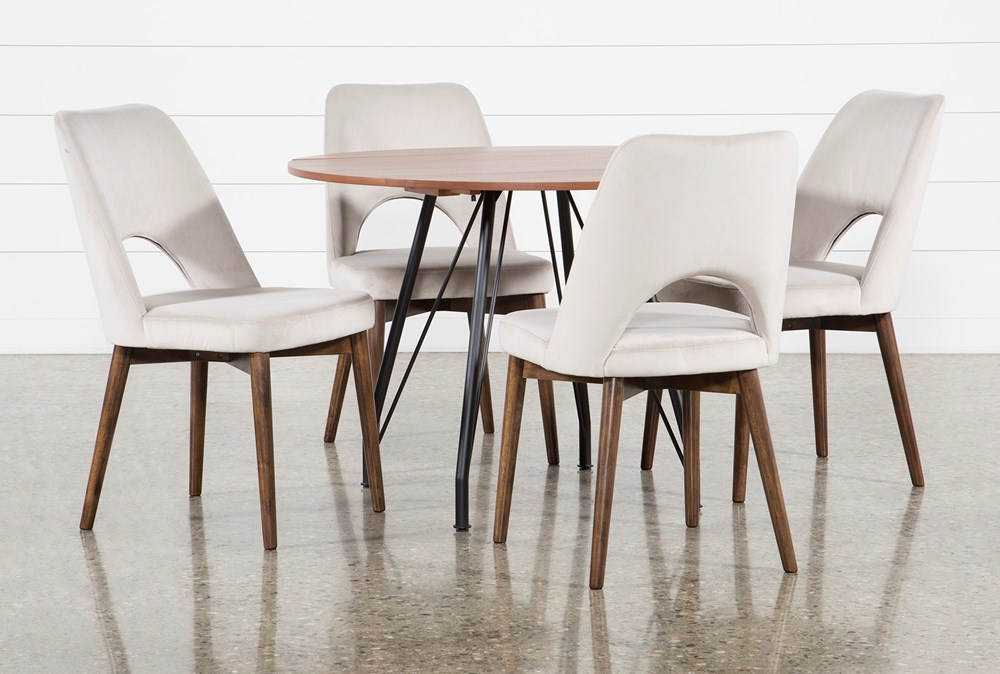 Vine Drop Leaf 5 Piece Dining Table With Zuma Grey Chairs