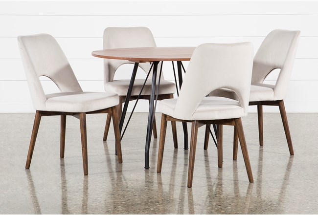 Vine Drop Leaf 5 Piece Dining Table With Zuma Grey Chairs - 360