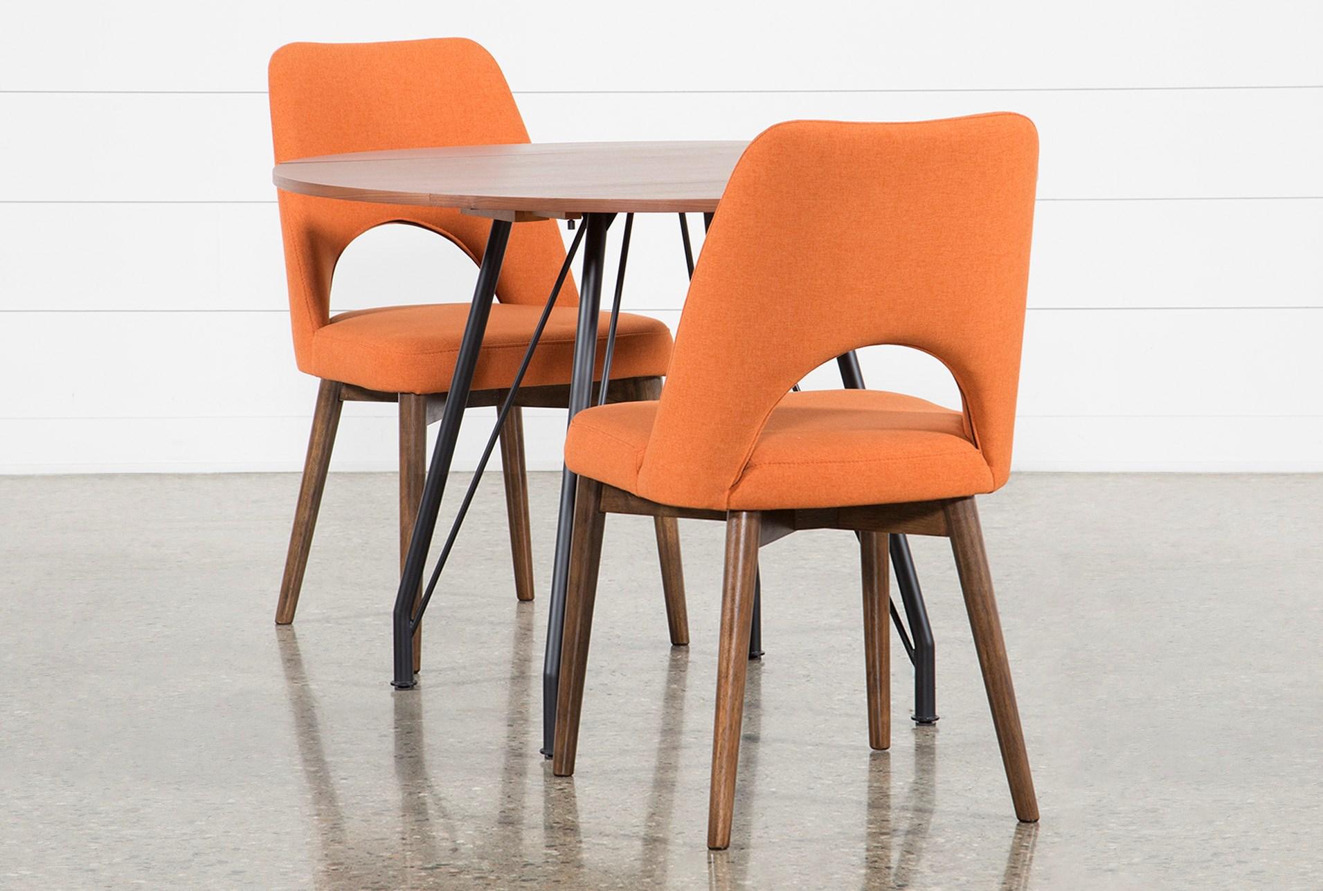 Vine Drop Leaf 3 Piece Dining Table With Zuma Orange Chairs