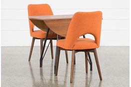 Vine Drop Leaf 3 Piece Dining Table With Zuma Orange Chairs