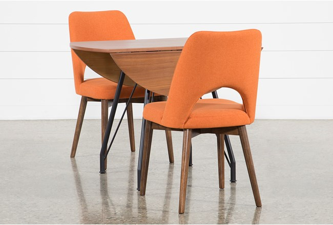 Vine Drop Leaf 3 Piece Dining Table With Zuma Orange Chairs - 360