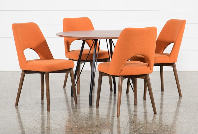 Vine Drop Leaf 5 Piece Dining Table With Zuma Orange Chairs - 360