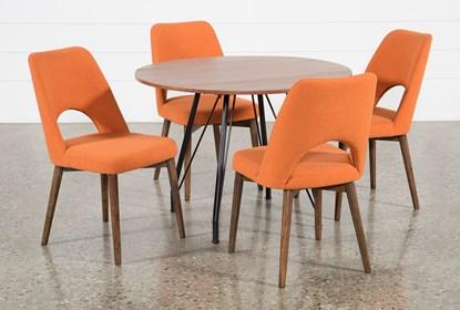 Vine Drop Leaf 5 Piece Dining Table With Zuma Orange Chairs