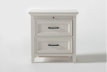"""Presby White 29"""" Nightstand With USB"""