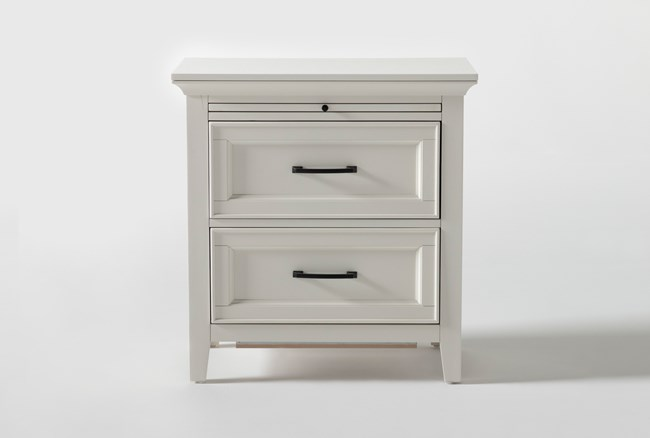 """Presby White 29"""" Nightstand With USB - 360"""
