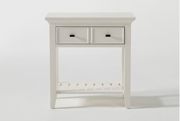 """Presby White Open 29"""" Nightstand With USB"""
