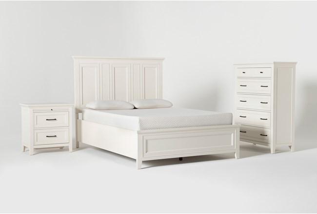 Presby White Queen Panel 3 Piece Bedroom Set - 360