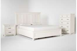 Presby White Eastern King Panel 3 Piece Bedroom Set