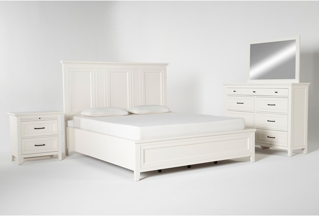 Presby White Eastern King Panel 4 Piece Bedroom Set - 360