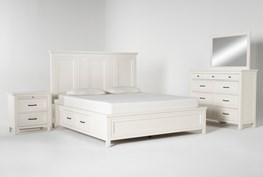 Presby White Eastern King Storage 4 Piece Bedroom Set