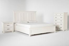 Presby White California King Panel 3 Piece Bedroom Set