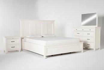 Presby White California King Panel 4 Piece Bedroom Set