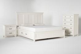 Presby White California King Storage 3 Piece Bedroom Set