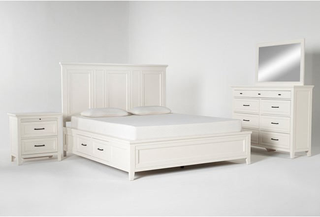 Presby White California King Storage 4 Piece Bedroom Set - 360