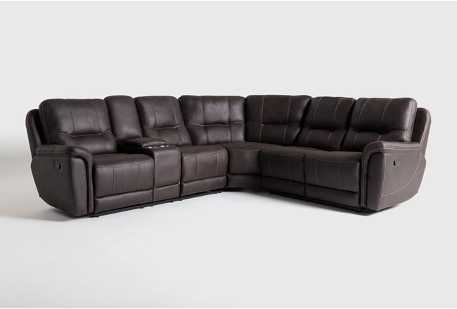 "Juniper 3 Piece 104"" Reclining Sectional With Left Arm Facing Console Loveseat - 360"