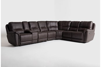 "Juniper 4 Piece 128"" Reclining Sectional With Left Arm Facing Console Loveseat"