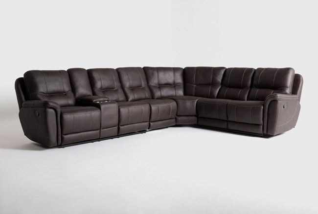 """Juniper 4 Piece 128"""" Reclining Sectional With Left Arm Facing Console Loveseat - 360"""