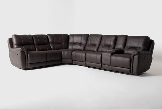 "Juniper 4 Piece 128"" Reclining Sectional With Right Arm Facing Console Loveseat - 360"