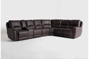 "Juniper 4 Piece 128"" Power Reclining Sectional With Left Arm Facing Console Loveseat"