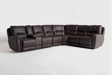 """Juniper 4 Piece 128"""" Power Reclining Sectional With Left Arm Facing Console Loveseat"""