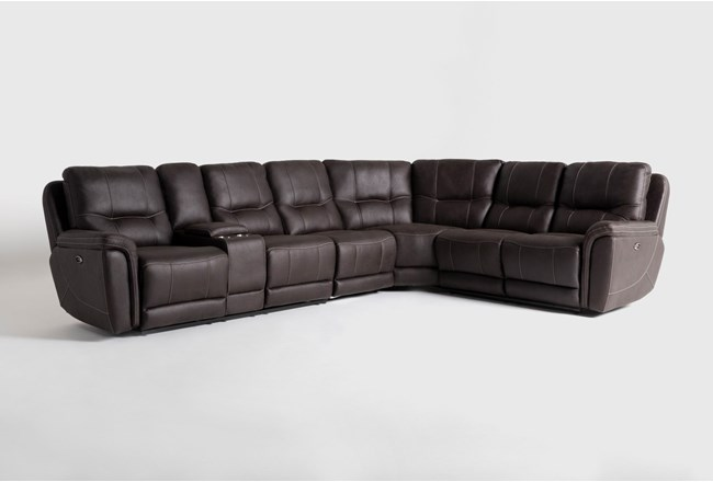 "Juniper 4 Piece 128"" Power Reclining Sectional With Left Arm Facing Console Loveseat - 360"