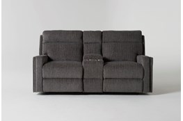 "Hewitt Grey 74""Reclining Loveseat With Console"