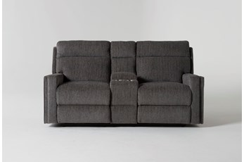 Hewitt Grey Reclining Loveseat With Console