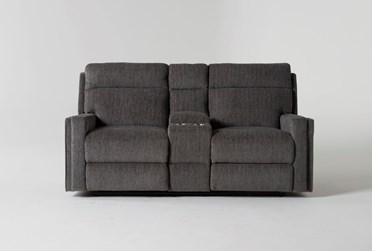 """Hewitt Grey 74""""Reclining Loveseat With Console"""