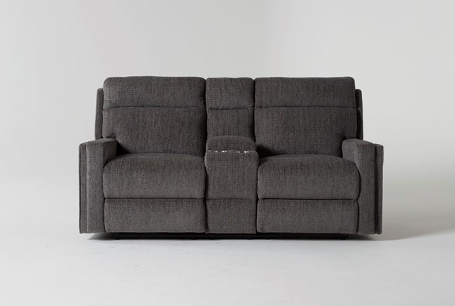 """Hewitt Grey 74""""Reclining Loveseat With Console - 360"""