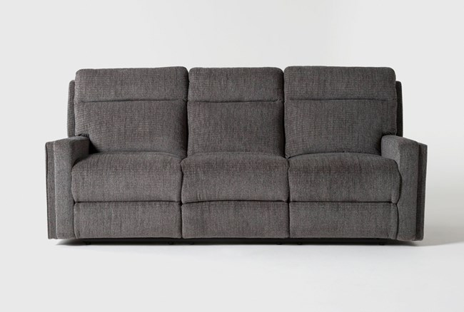 "Hewitt Grey 85"" Power Reclining Sofa With USB - 360"