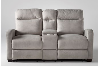 "Jarrell Light Grey 71"" Reclining Console Loveseat With USB"