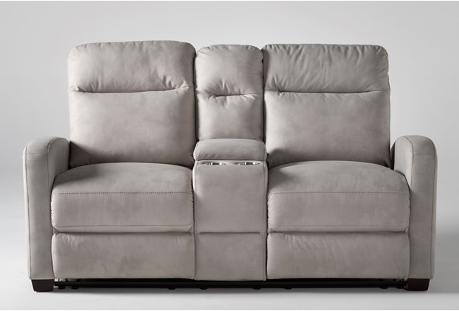 "Jarrell Light Grey 71"" Reclining Console Loveseat With USB - 360"
