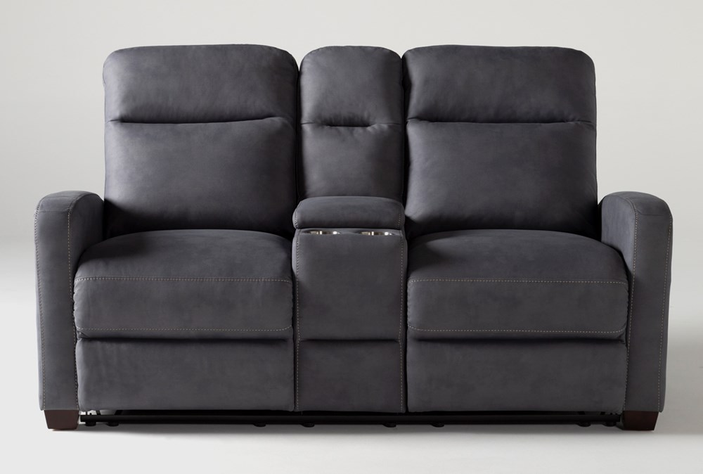Jarrell Blue Grey Reclining Console Loveseat With USB