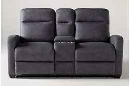 """Jarrell Blue Grey 71"""" Reclining Console Loveseat With USB"""
