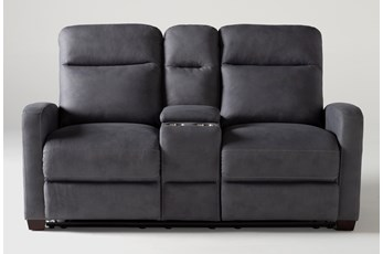 "Jarrell Blue Grey 71"" Reclining Console Loveseat With USB"