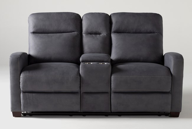 """Jarrell Blue Grey 71"""" Reclining Console Loveseat With USB - 360"""