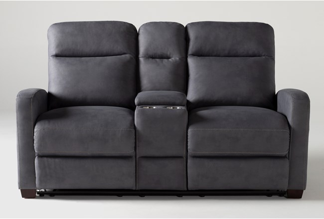 Jarrell Blue Grey Reclining Console Loveseat With USB - 360
