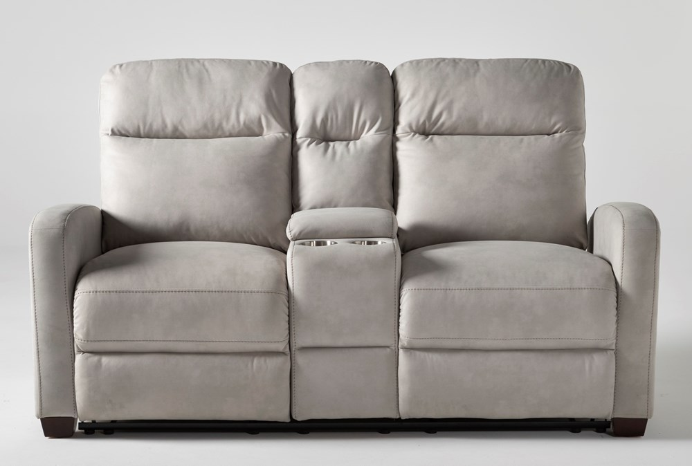 Jarrell Light Grey Power Reclining Console Loveseat Usb Living Spaces