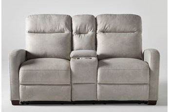 "Jarrell Light Grey 71"" Power Reclining Console Loveseat With USB"