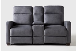 """Jarrell Blue Grey 71"""" Power Reclining Console Loveseat With USB"""
