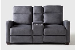 "Jarrell Blue Grey 71"" Power Reclining Console Loveseat With USB"