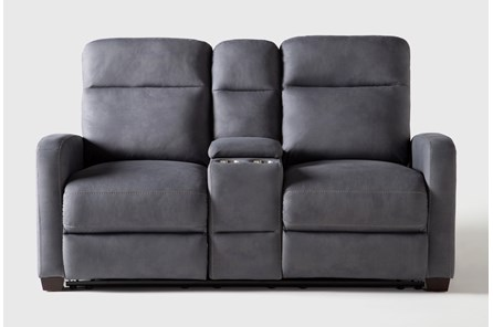 Jarrell Blue Grey Power Reclining Console Loveseat With USB