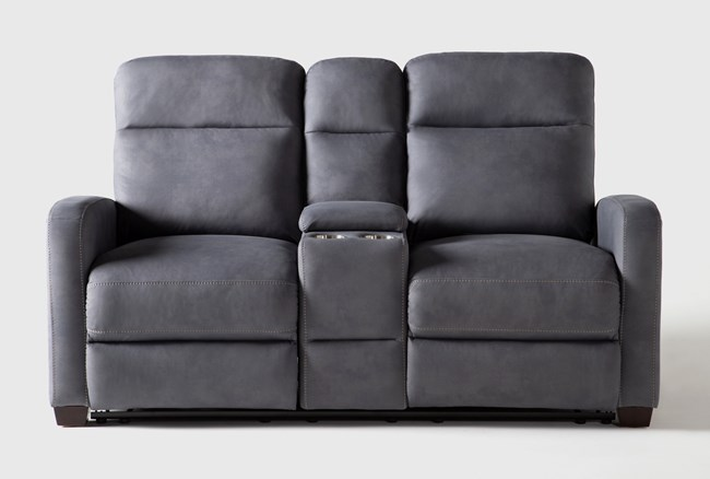 """Jarrell Blue Grey 71"""" Power Reclining Console Loveseat With USB - 360"""