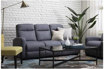 Jarrell Blue Grey Power Reclining Sofa With USB