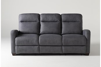 "Jarrell Blue Grey 81"" Power Reclining Sofa With USB"