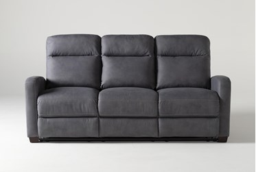 "Jarrell Blue Grey 81"" Power Reclining Sofa With USB"